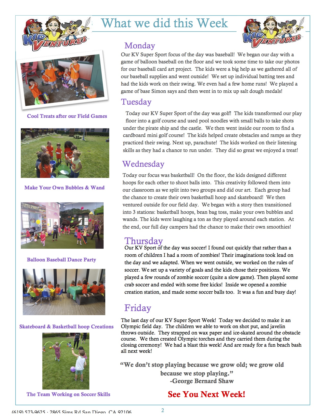 KV Camp Newslatter Week 2..2